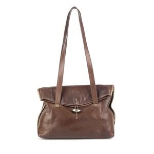 BOB TIMBERLAKE Brown Leather Foldover Satchel